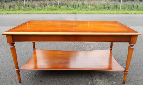 Georgian Style Long Yew Two Tier Coffee Table by Bradley